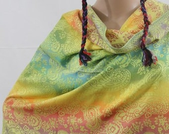 Made in Nepal - Wrap - Silk and Blend Pashmina - Rainbow and Floral Pashmina