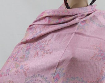 Made in Nepal - Wrap - Silk and Blend Pashmina - Pink Floral Silk Blend Pashmina