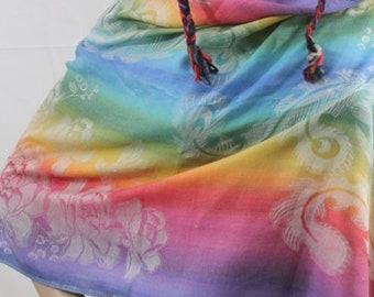 Made in Nepal - Wrap - Silk and Blend Pashmina - Rainbow Floral Pashmina
