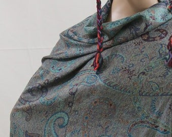 Made in Nepal - Wrap - Silk and Blend Pashmina - Silk Blend Paisly and Floral Pashmina