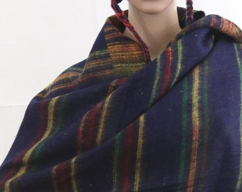 Made in Nepal - Yak Wool Shawl - Thick High Quality Yak Wool Blanket Size Shawl - Navy Blue, Yellow and Orange Striped Nepal