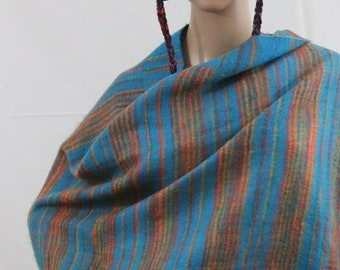 Made in Nepal - Blanket - Yak Wool and Blend Shawl - Turquise and Orange Striped Blend