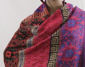Made in Nepal - Blanket - Yak Wool and Blend Shawl - Multi Colored Floral and Patterned Blend
