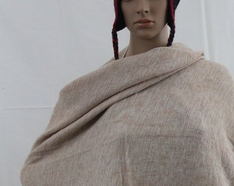 Made in Nepal - Blanket - Yak Wool and Blend Shawl - Beige Natural Colors Blend