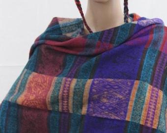Made in Nepal - Yak Wool Shawl - Thick High Quality Yak Wool Blanket Size Shawl - Purple, Turquise, Mauve Patterned Nepal