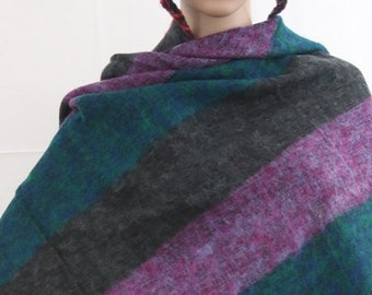 Made in Nepal - Yak Wool Shawl - Thick High Quality Yak Wool Blanket Size Shawl - Black, Green Pink and Purple Large Striped Nepal