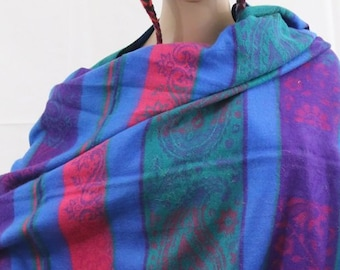 Made in Nepal - Yak Wool Shawl - Thick High Quality Yak Wool Blanket Size Shawl - Blue, Purple, Green and Pink with design Nepal