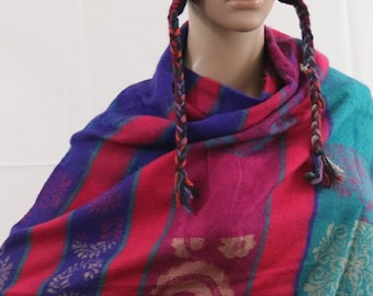 Made in Nepal - Yak Wool Shawl - Thick High Quality Yak Wool Blanket Size Shawl - Pink, Purple, Red and Blue Print Nepal