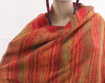 Made in Nepal - Thick High Quality Yak Wool Blanket Size Shawl - Blended for Extra Softness and Comfort - Orange and Red Striped Nepal