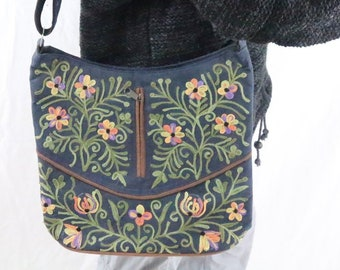 Made in Nepal - Bag - Embroidered and  Shoulder - Blue with Green and Flowers Embroidered Bag