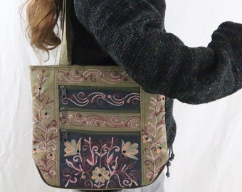Made in Nepal - Bag - Embroidered and  Shoulder - Brown and Green Embroidered Bag