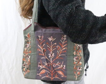 Made in Nepal - Bag - Embroidered and  Shoulder - Green and Purple Embroidered Bag