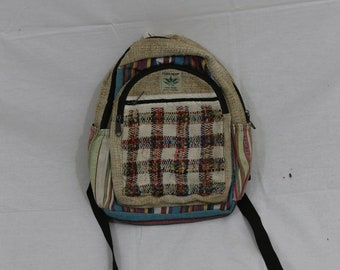 Made in Nepal - Hemp Backpack - Hemp and Recycle Fabric - Nepal Hemp Backpack Small Recycled Material Checkered