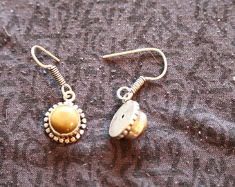 Made in Nepal - Eclectic Earring - Bohemian Earring - Stone Earring - Brown Gemstone and Silver