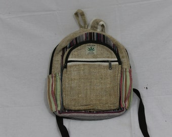 Made in Nepal - Hemp Backpack - Hemp and Recycle Fabric - Nepal Hemp Backpack Small Striped Multicolored