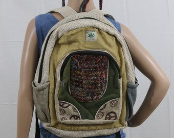Made in Nepal - Hemp Backpack - Hemp and Recycle Fabric - Nepal Hemp Backpack Yellow, Recycled Material and Peace Pattern