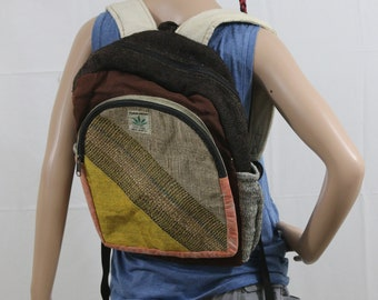 Made in Nepal - Hemp Backpack - Hemp and Recycle Fabric - Nepal Hemp Backpack Black, Brown and Yellow with Recycled Material