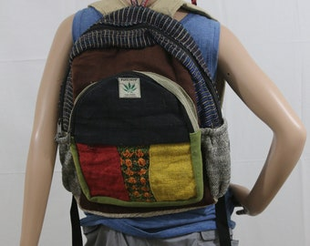 Made in Nepal - Hemp Backpack - Hemp and Recycle Fabric - Nepal Hemp Backpack Recycled Material with Red, Yellow Pocket