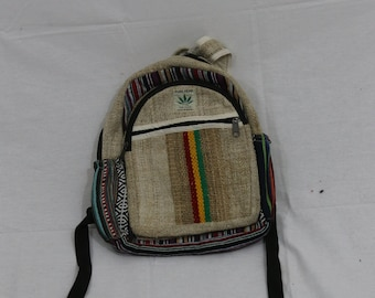 SMALL Made in Nepal - Hemp Backpack - Hemp and Recycle Fabric - Nepal Hemp Backpack Small, Patterned and Striped Red, Grren and Yellow