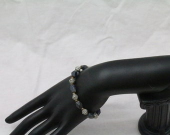 Made in Nepal - Blue Stoner and Tibetan Silver Beaded Bracelet
