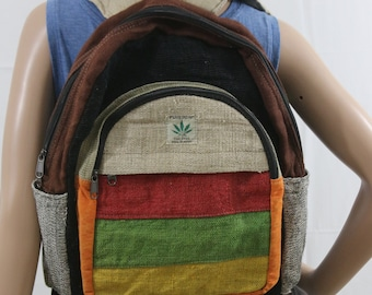 Made in Nepal - Hemp Backpack - Hemp and Recycle Fabric - Nepal Hemp Backpack Brown with Rasta Pattern Pocket