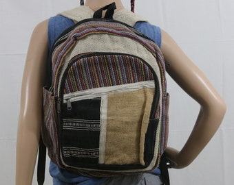 Made in Nepal - Hemp Backpack - Hemp and Recycle Fabric - Nepal Hemp Backpack Striped and Geometric Front Pocket