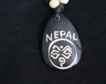 Made in Nepal - Yak Bone Necklace - Black Cord Necklace - Tibetan - Nepal Teradrop
