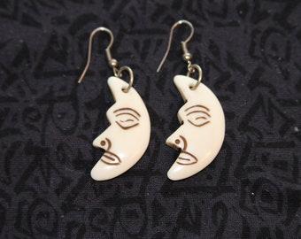 Made in Nepal - Eclectic Earring - Bohemian Earring - Yak Bone Earring - Ya Bone Man in the Moon