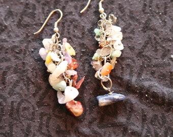Made in Nepal - Eclectic Earring - Bohemian Earring - Stone Earring - Multi Stone Dangles
