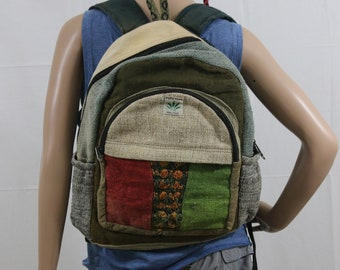 Made in Nepal - Hemp Backpack - Hemp and Recycle Fabric - Nepal Hemp Backpack Natural Green Hemp Broad Striped Pocket with Recycled Material