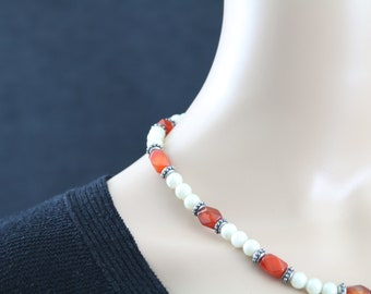 Made in Nepal - Jewelry - Glass and Faux Pearl Necklace - Orange Glass and Pearl Costume