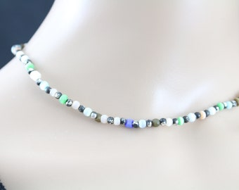 Made in Nepal - Jewelry - Stone Necklace - Light Rainbow Stone Bead