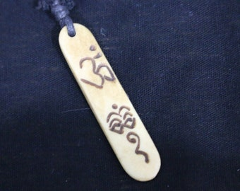 Made in Nepal - Yak Bone Necklace - Black Cord Necklace - Tibetan - Rectangle Buddha and Om