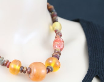 Made in Nepal - Jewelry - Stone and  Necklace - Large Stone Orange Quartz Type