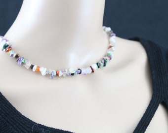 Made in Nepal - Jewelry - Stone Necklace - Multicolor Rough Stone