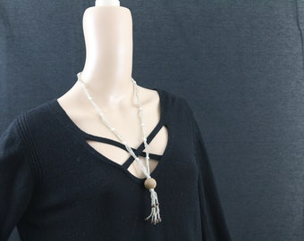 Made in Nepal - Jewelry - Glass Necklace - Long Clear Glass and Wood