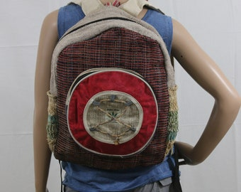 Made in Nepal - Hemp Backpack - Hemp and Recycle Fabric - Nepal Hemp Backpack Recycle Material Circle Pocket with Ties