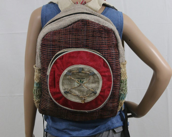 Featured listing image: Made in Nepal - Hemp Backpack - Hemp and Recycle Fabric - Nepal Hemp Backpack Recycle Material Circle Pocket with Ties