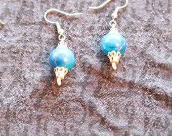 Made in Nepal - Eclectic Earring - Bohemian Earring - Resin and  Earring - Blue Ball with Design