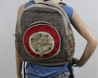 Made in Nepal - Hemp Backpack - Hemp and Recycle Fabric - Nepal Hemp Backpack Recycled Material with Circle and Tie Pocket