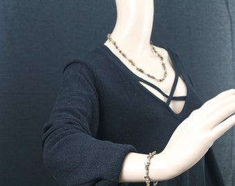 Made in Nepal - Jewelry - Stone and  Necklace - Goldstone and Tibetan Silver - Bracelet Match