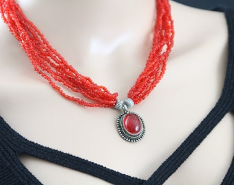 Made in Nepal - Jewelry - Glass and Stone Necklace - Orange Glass Beads with Pendant