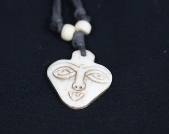 Made in Nepal - Yak Bone Necklace - Black Cord Necklace - Tibetan - Carved Triangle Face