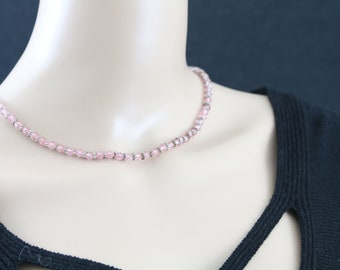 Made in Nepal - Jewelry - Resin Beaded Necklace - Delicate Pink Beads