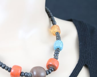Made in Nepal - Jewelry - Stone and  Necklace - Large Ceramic and Wood
