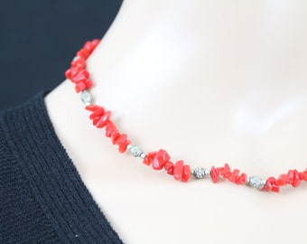 Made in Nepal - Jewelry - Stone and  Necklace - Red Rough Cut Stone