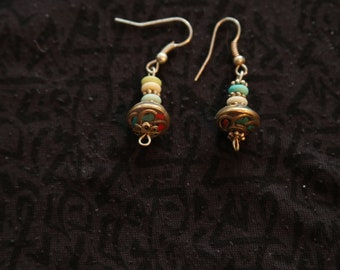 Made in Nepal - Eclectic Earring - Bohemian Earring - Yak Bone Earring - Yak Bone and Brass Beads