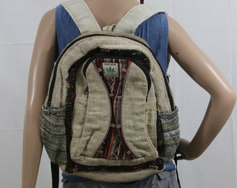Made in Nepal - Hemp Backpack - Hemp and Recycle Fabric - Nepal Hemp Backpack Natural Recycled Materials with Curved Front Pocket