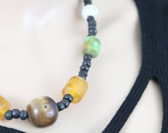 Made in Nepal - Jewelry - Resin Necklace - Large Resin Bead and Wood