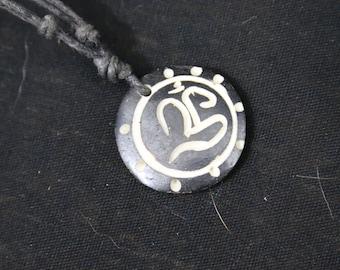 Made in Nepal - Yak Bone Necklace - Black Cord Necklace - Tibetan - Black Circle Om